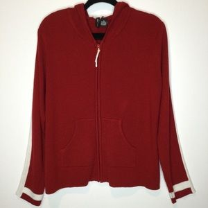 Jason Maxwell Hooded Zip Knit Jacket Red White XL